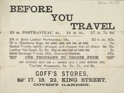 Advert for portmanteaus on sale at Goff's Stores